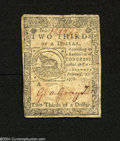 Colonial Notes:Continental Congress Issues, Continental Congress Issue February 17, 1776 $2/3 Choice VeryFine....