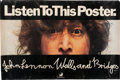 "Music Memorabilia:Posters, John Lennon Walls and Bridges Apple Records ""Listen To This Poster"" Personal Copy (SW-3416, 1974). ..."