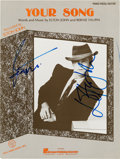 "Music Memorabilia:Autographs and Signed Items, Elton John/Bernie Taupin Signed ""Your Song"" Sheet Music (Dick James Music/Hal Leonard). ..."