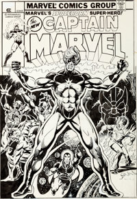 Jim Starlin and Klaus Janson Captain Marvel #32 Cover Drax the Destroyer Original Art (Marvel, 1974)