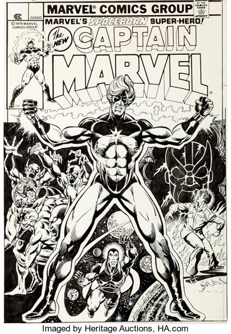 Jim Starlin and Klaus Janson Captain Marvel #32 Cover Drax the Destroyer Original Art (Marvel, 1974)....