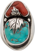 Music Memorabilia:Costumes, Jimi Hendrix Sterling Silver Ring With Turquoise Stone Red Stone In Red Drawstring Bag With Polishing Cloth. ...