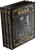 Explorers:Space Exploration, Buzz Aldrin Signed Leather-Bound Limited Edition Books (Three Copies, Still Sealed): NASA, The Complete Illustrated Hist... (Total: 3 Items)