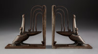 Pair of Edgar Brandt Wrought Iron Pelican Bookends, circa 1925 Marks: E BRANDT 6-1/2 inches (16.5 cm) (eac... (Total: 2...