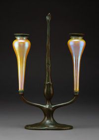Tiffany Studios Favrile Glass and Bronze Two-Light Candelabrum with Snuffer, circa 1900 Marks: TIFFANY STUDIOS, NEW YORK...