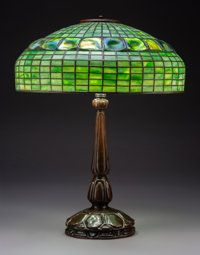 Tiffany Studios Leaded Glass and Bronze Turtleback Table Lamp, circa 1907 Marks t... (Total: 2)