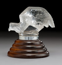R. Lalique Pintade Clear and Frosted Glass Automobile Mascot, circa 1929 Marks: R. LALIQUE, FRANCE 11 inch