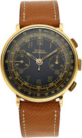 Timepieces:Wristwatch, Doxa, Very Rare Oversized Early Chronograph, Black Gloss Gilt Multi-scale Dial, 14k Gold, Circa 1940's. ...
