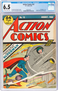 Action Comics #15 (DC, 1939) CGC FN+ 6.5 Off-white to white pages