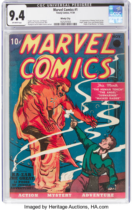 Marvel Comics #1 Windy City pedigree (Timely, 1939) CGC NM 9.4 Off-white pages....