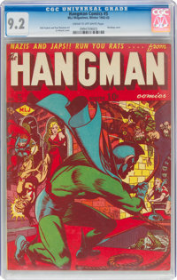 Hangman Comics #5 (MLJ, 1942) CGC NM- 9.2 Cream to off-white pages