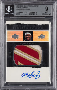 2003-04 Upper Deck Exquisite Collection LeBron James Limited Logos Patch Autograph 73/75 #LJ BGS Mint 9 - 10 Autograph.&...
