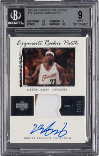 2003-04 Upper Deck Exquisite Collection LeBron James Rookie Patch Autograph 83/99 #78 BGS Mint 9 - 10 Autograph