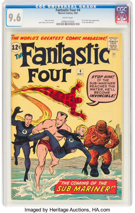 Fantastic Four #4 (Marvel, 1962) CGC NM+ 9.6 White pages....