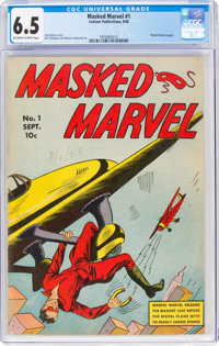 Masked Marvel #1 (Centaur, 1940) CGC FN+ 6.5 Off-white to white pages