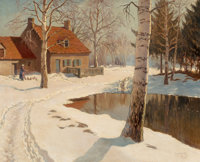 Michel Markinovitch Guermacheff (Russian, 1867-1930) A cottage in the snow Oil on canvas 26 x 32