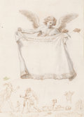 Paintings, Stefano Della Bella (Italian, 1610-1664). An allegory of the North Wind. Pen, brown ink, and grey and buff watercolor wa...