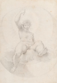 Cristoforo Roncalli (Italian, 1545-1626) Apollo seated on a cloud holding a torch aloft, design for a ceiling d