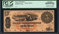 Wilmington, NC- Bank of Wilmington $5 18__ as G2c Proof PCGS Gem New 65PPQ