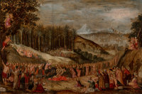 Dutch School (17th Century) Christ's triumphal entry into Jerusalem Oil on paper laid on panel 10 x 14-5/8 inches (25