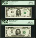Black Ink Smears on Face Error Fr. 1972-K $5 1969C Federal Reserve Notes. Two Consecutive Examples. PCGS Gem New 65PPQ-6...
