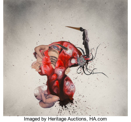 Wangechi Mutu (b. 1973) Aztec Connection, 2005 Acrylic, ink, spray paint, and paper collage on Mylar 24-1/2 x 29-1/2 ...