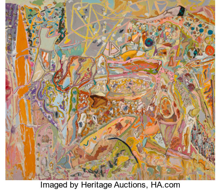 Larry Poons (b. 1937) A Fortune of Solitude, 2001 Mixed media on canvas 80-3/4 x 93-1/2 inches (205.1 x 237.5 cm) Si...