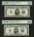 Small Size:Silver Certificates, Fr. 1651 $5 1934A Silver Certificate. PMG Choice Uncirculated 64 EPQ;. Fr. 1653 $5 1934C Wide Silver Certificate. PMG Choi... (Total: 2 notes)