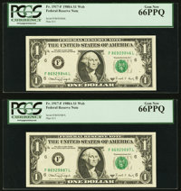 Fr. 1917-F $1 1988A Web Federal Reserve Notes. Two Examples. PCGS Gem New 66PPQ. ... (Total: 2 notes)
