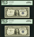Small Size:Silver Certificates, Fr. 1621 $1 1957B Silver Certificates. Two Consecutive Examples. PCGS Gem New 65PPQ.. ... (Total: 2 notes)