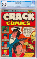 Golden Age (1938-1955):Crime, Crack Comics #1 (Quality, 1940) CGC VG/FN 5.0 Off-white to white pages....