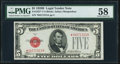 Small Size:Legal Tender Notes, Fr. 1527* $5 1928B Legal Tender Star Note. PMG Choice About Unc 58.. ...