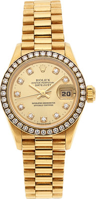 Rolex, Lady DateJust Ref. 69178, 18k Yellow Gold, Diamond Bezel and Dial, Circa 1995