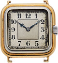 Timepieces:Wristwatch, Swiss, Jeweler-Made Two Tone 18k Gold Art Deco Watch, circa 1930's. ...