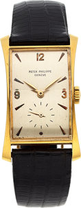 "Timepieces:Wristwatch, Patek Philippe, Very Fine and Rare Ref. 1593 ""Hour Glass"", 18k Yellow Gold, Circa 1949. ..."