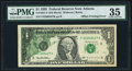 Error Notes:Offsets, Partial Back to Face Offset Error Fr. 1921-F $1 1995 Federal Reserve Note. PMG Choice Very Fine 35.. ...