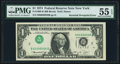 Inverted Third Printing Error Fr. 1908-B $1 1974 Federal Reserve Note. PMG About Uncirculated 55 EPQ