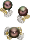 Estate Jewelry:Suites, South Sea Cultured Pearl, Colored Diamond, Diamond, Gold Jewelry Suite. ...