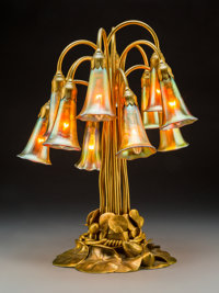 Tiffany Studios Favrile Glass and Gilt Bronze Twelve-Light Lily Lamp, circa 1910 Marks to two shades: L.C.T