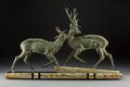 Sculpture, French Art Deco Patinated Metal Deer Sculpture on Marble Base, circa 1940. Signed: Gilot. 16-1/2 x 26-1/2 x 4-3/4 inches...