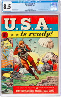 U.S.A. Is Ready #1 (Dell, 1941) CGC VF+ 8.5 Cream to off-white pages