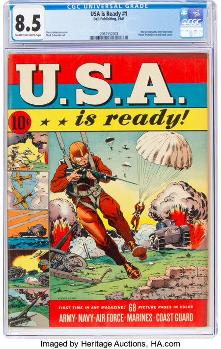 U.S.A. Is Ready #1 (Dell, 1941) CGC VF+ 8.5 Cream to off-white pages....