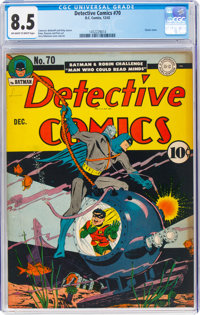 Detective Comics #70 (DC, 1942) CGC VF+ 8.5 Off-white to white pages