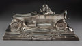 Metalwork, WMF Special Order Silver-Plated Metal Race Car-Form Ink Stand, circa 1905. Marks: (six-petal rosette), B, (ostrich-WMF-G...