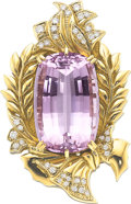 Estate Jewelry:Pendants and Lockets, Kunzite, Diamond, Gold Pendant . ...