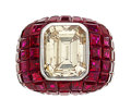 Estate Jewelry:Rings, Diamond, Ruby, White Gold Ring . ...