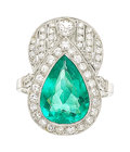 Estate Jewelry:Rings, Art Deco Diamond, Emerald, White Gold Ring. ...