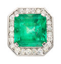 Estate Jewelry:Rings, Gentlemen's Emerald, Diamond, White Gold Ring. ...