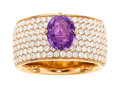 Estate Jewelry:Rings, Pinkish-Purple Sapphire, Diamond, Platinum Ring. ...