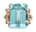 Estate Jewelry:Rings, Retro Aquamarine, Diamond, Ruby, Rose Gold Ring. ...